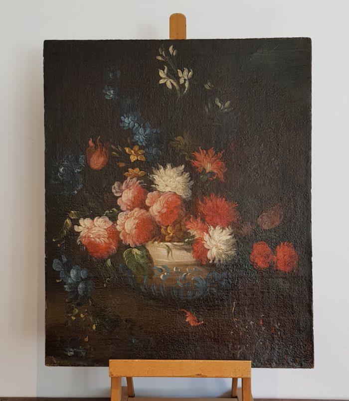 Composizione floreale, olio su tela applicata su cartone, Epoca Seicentesca